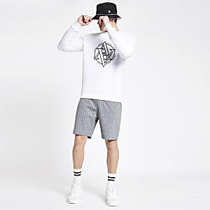 Grijze slim-fit jersey short met krijtstreep