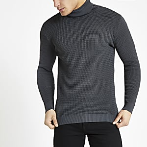 Grey textured slim fit roll neck sweater