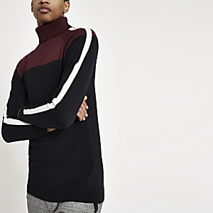 Burgundy blocked roll neck slim fit jumper