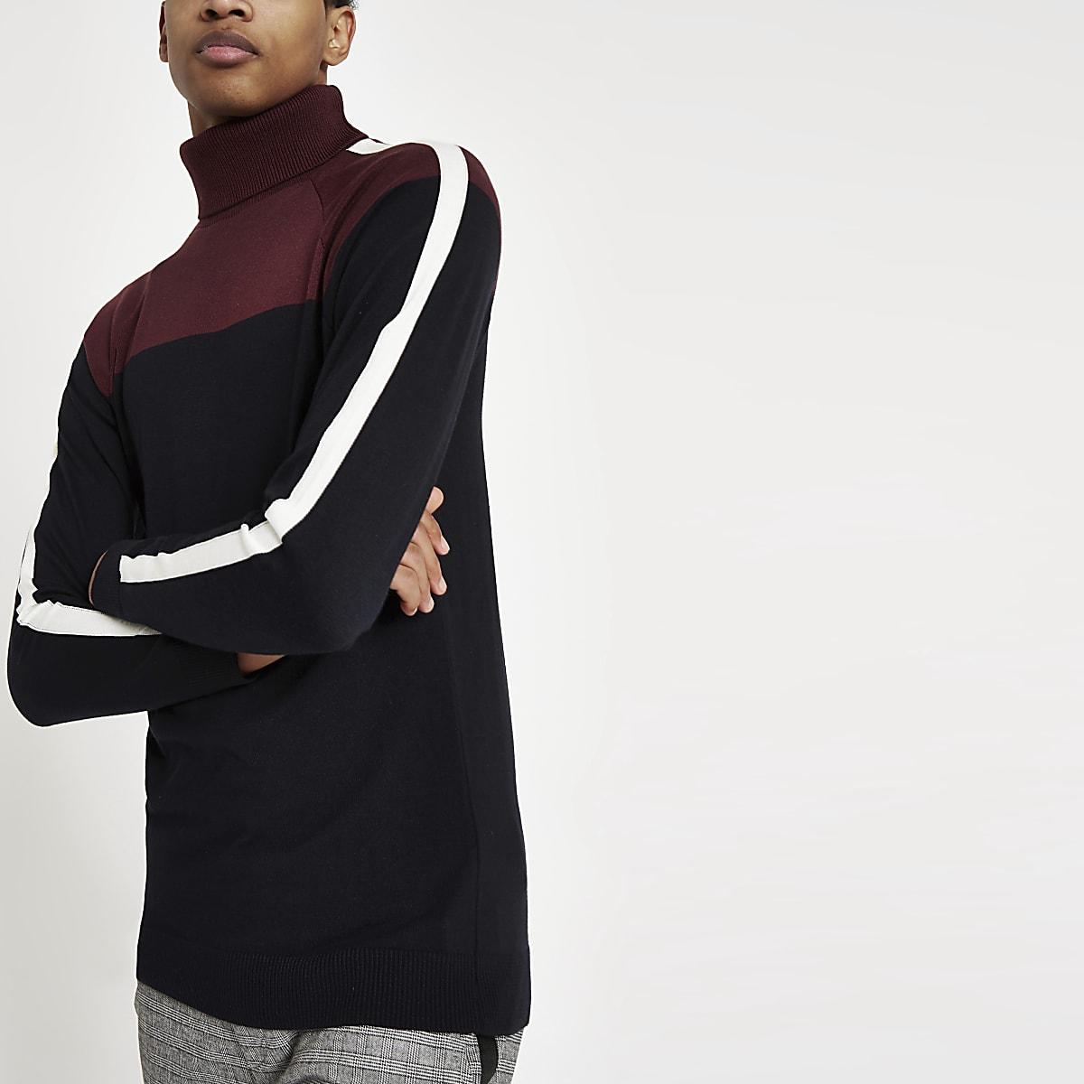 Burgundy blocked roll neck slim fit jumper