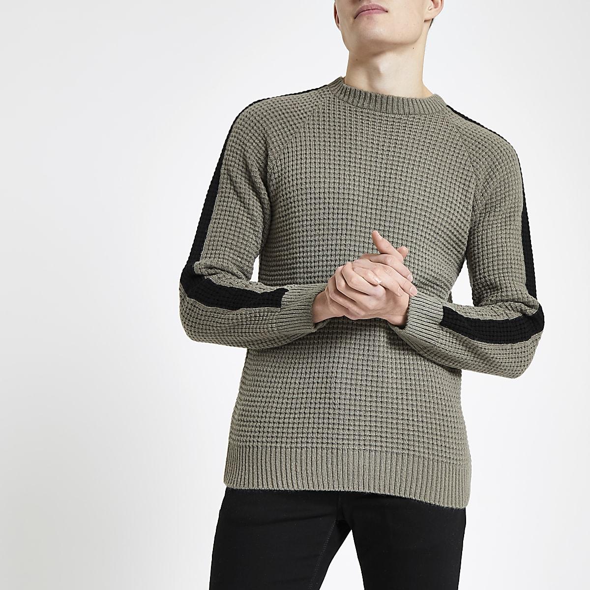 Khaki waffle slim fit jumper