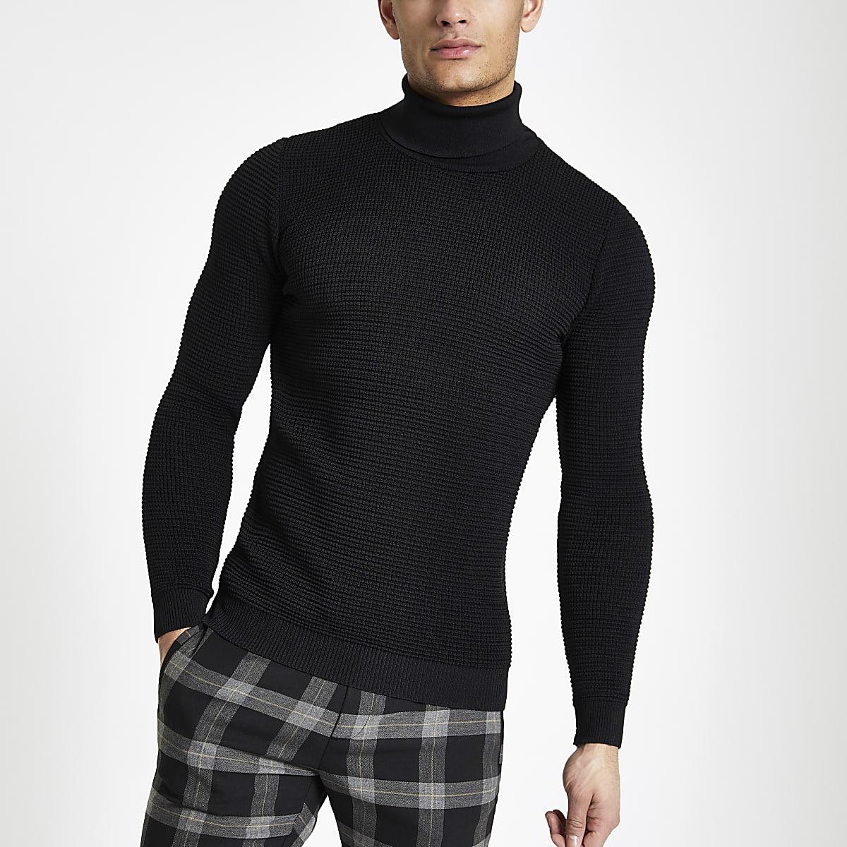 3fdf06bba31 Black textured slim fit roll neck jumper