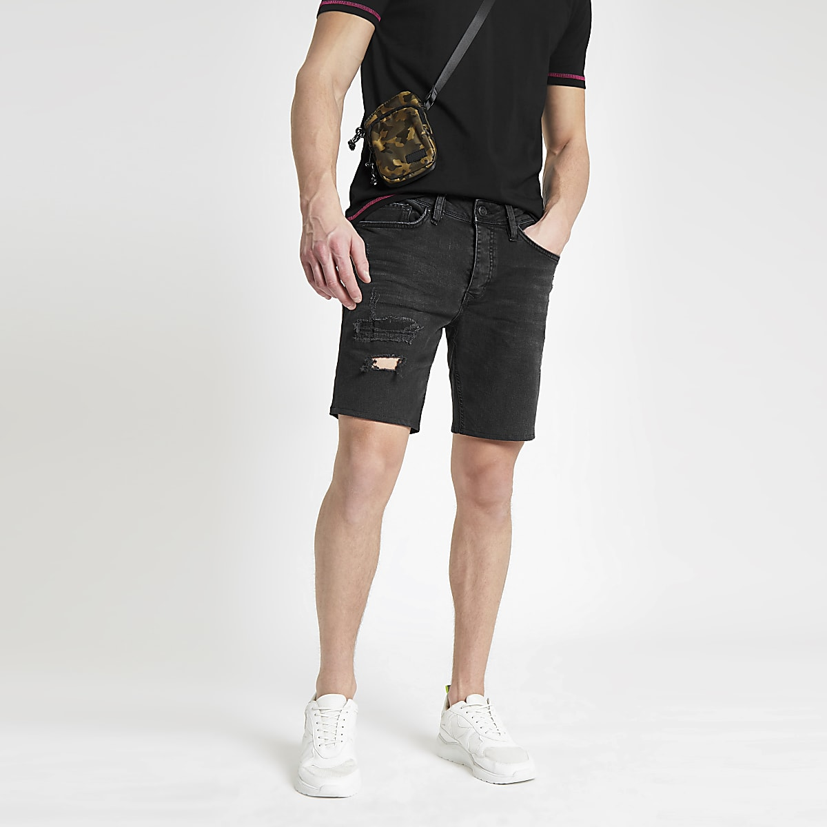 2f5912944e Black slim fit denim shorts - Casual Shorts - Shorts - men