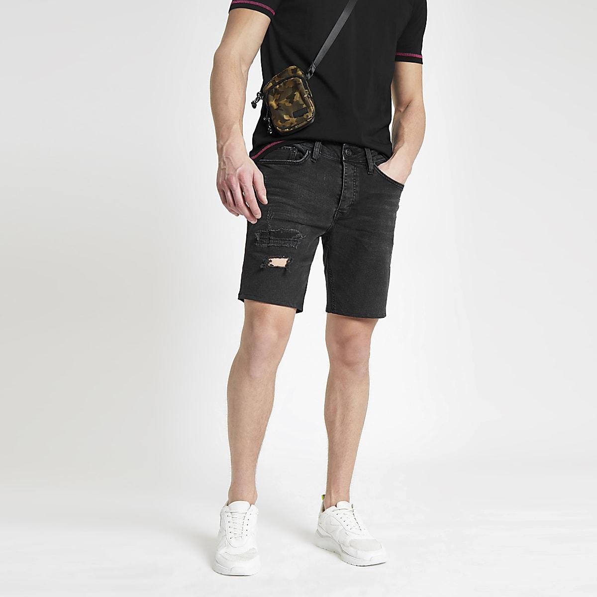 Schwarze Slim Fit Jeansshorts