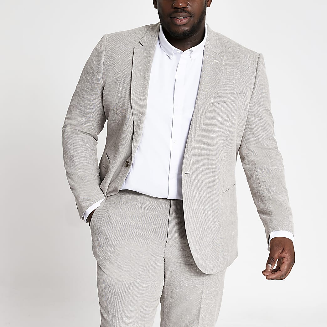 Big and Tall ecru suit jacket