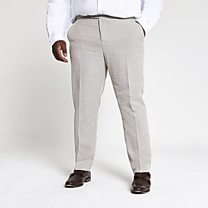 Big and Tall ecru suit trousers