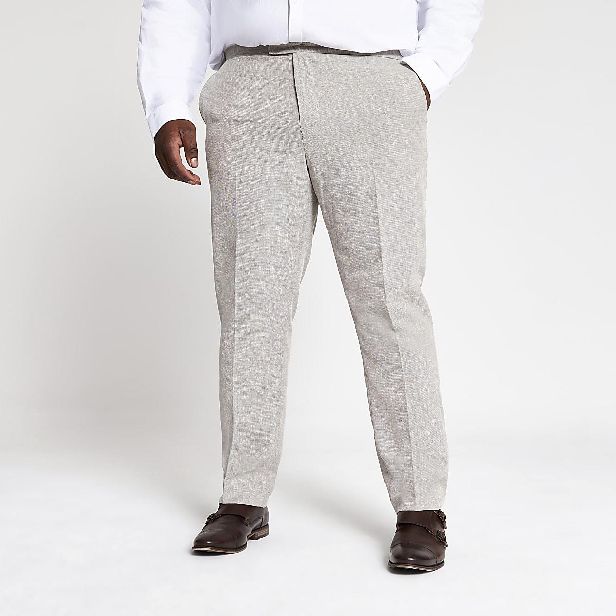 Big and Tall ecru suit pants