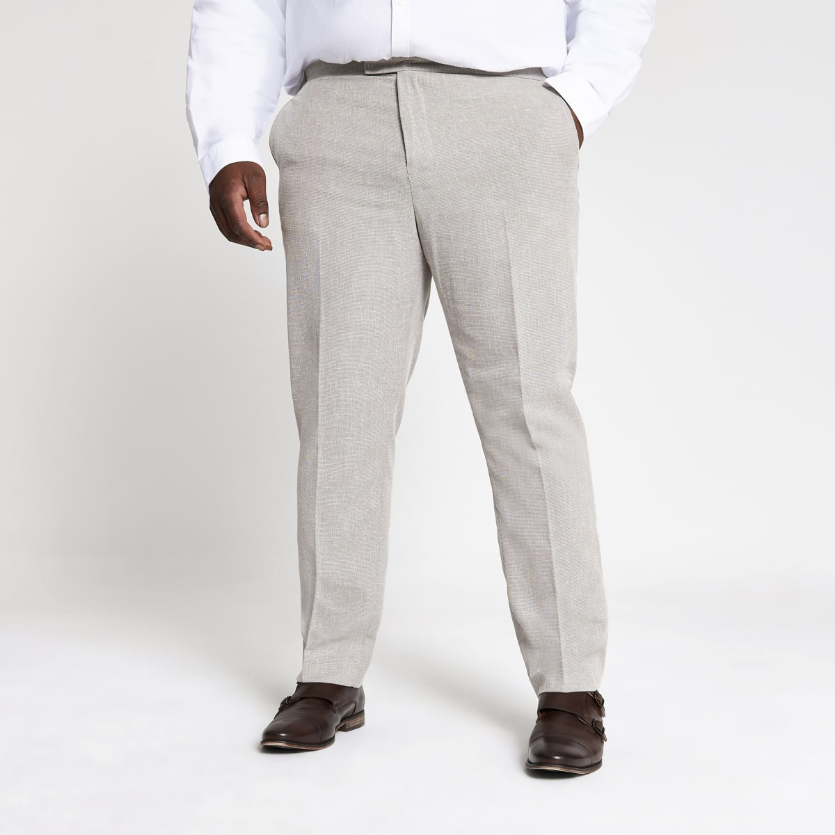 Big and Tall ecru suit pants