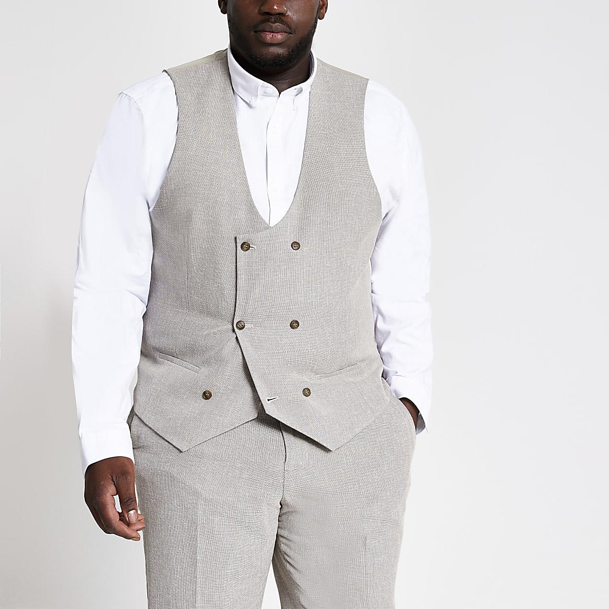 Big and Tall ecru suit waistcoat