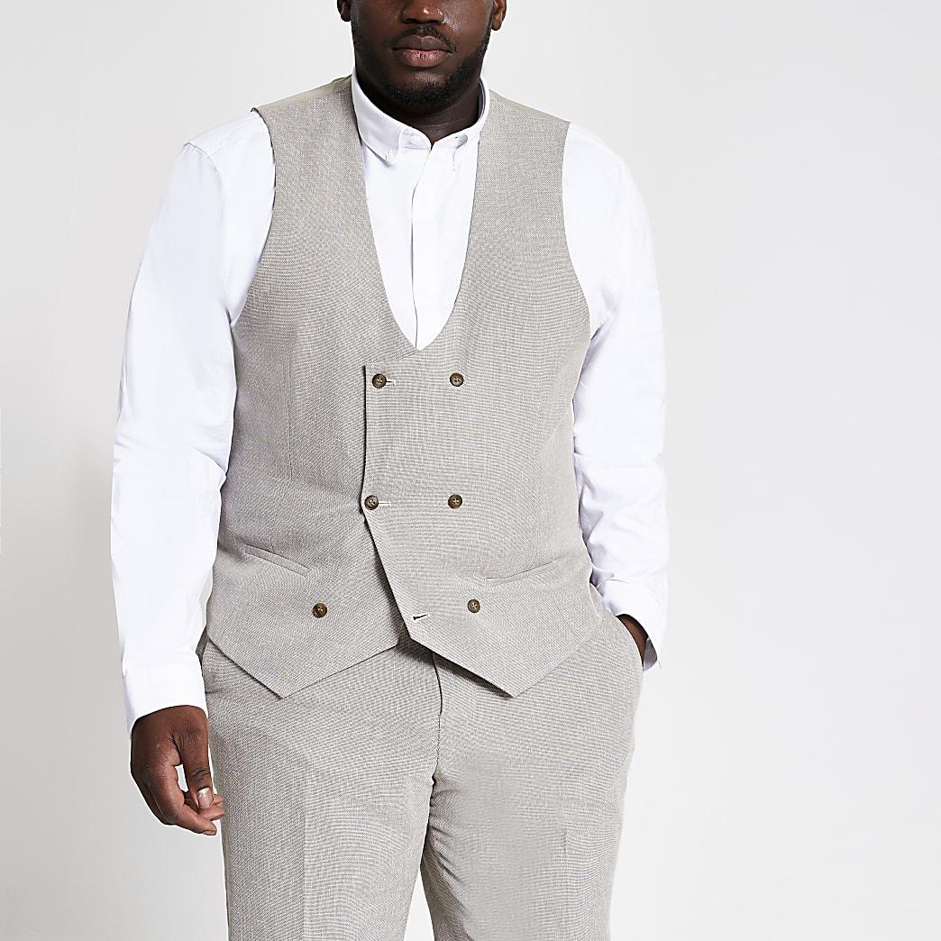 Big and Tall – Gilet de costume écru