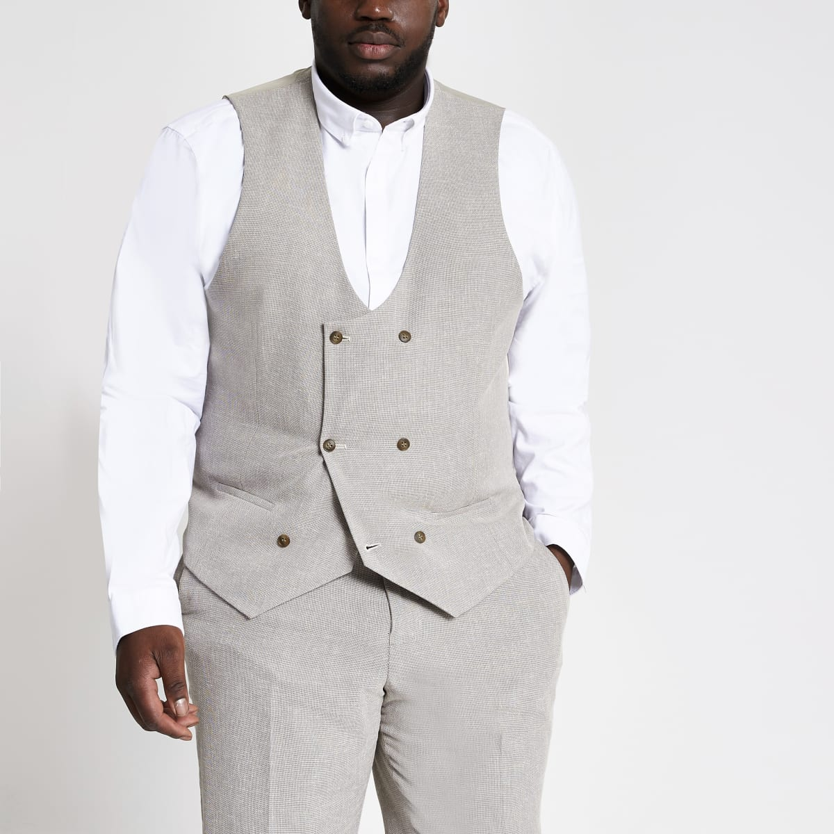 Big and Tall ecru suit waistcoat