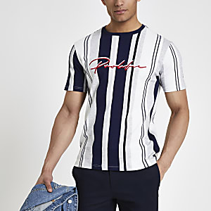 Grey marl 'Prolific' stripe T-shirt