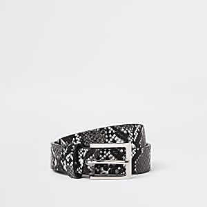 Black and white snake print belt