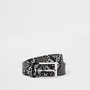 Ceinture imprimé serpent noire et blanche