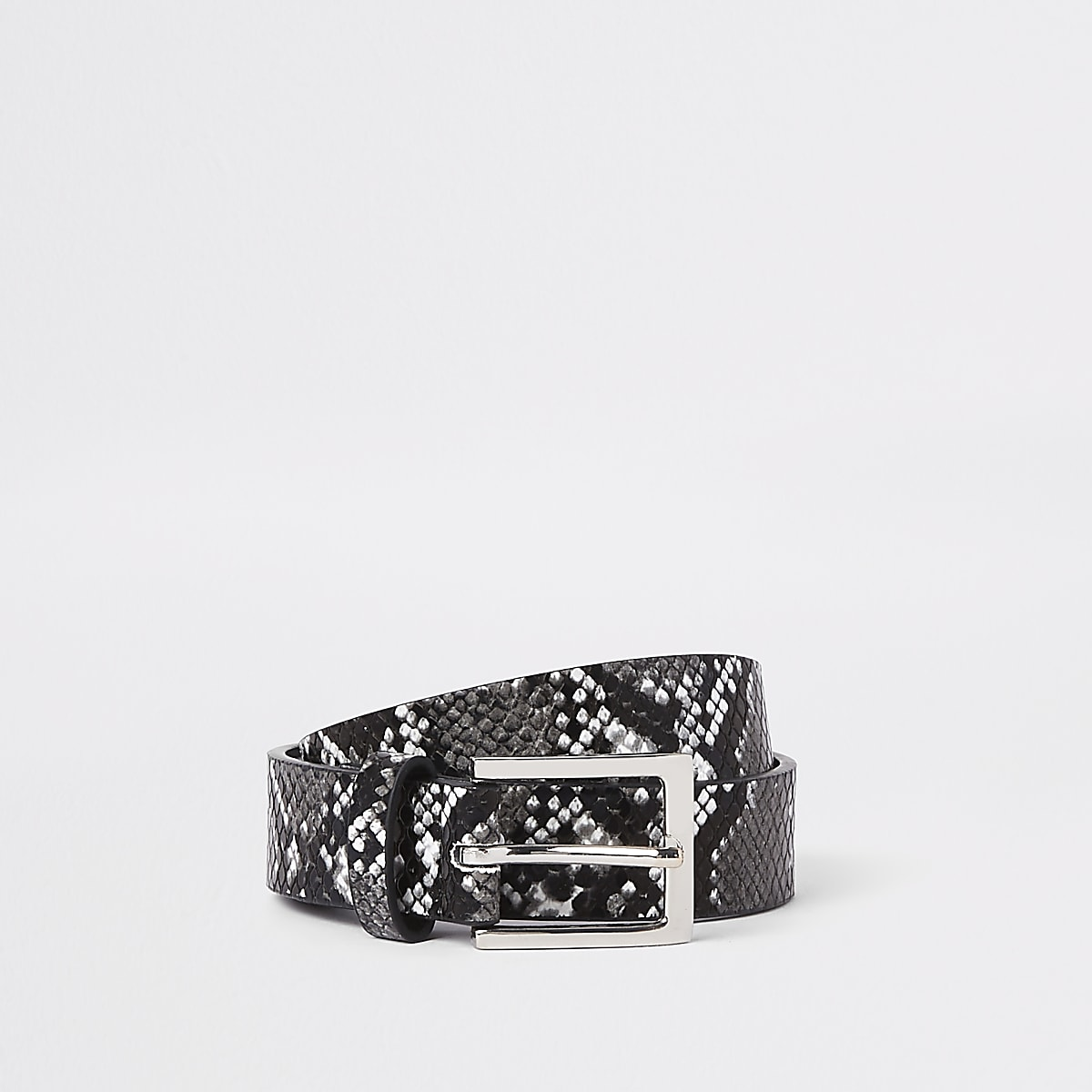 Black and white snake print belt