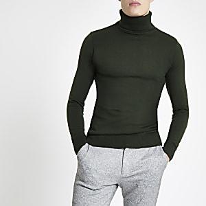 Khaki slim fit roll neck sweater