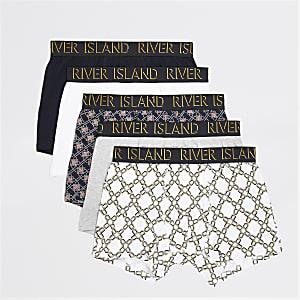 Set van 5 marineblauwe strakke boxers met ketting- en geometrische print