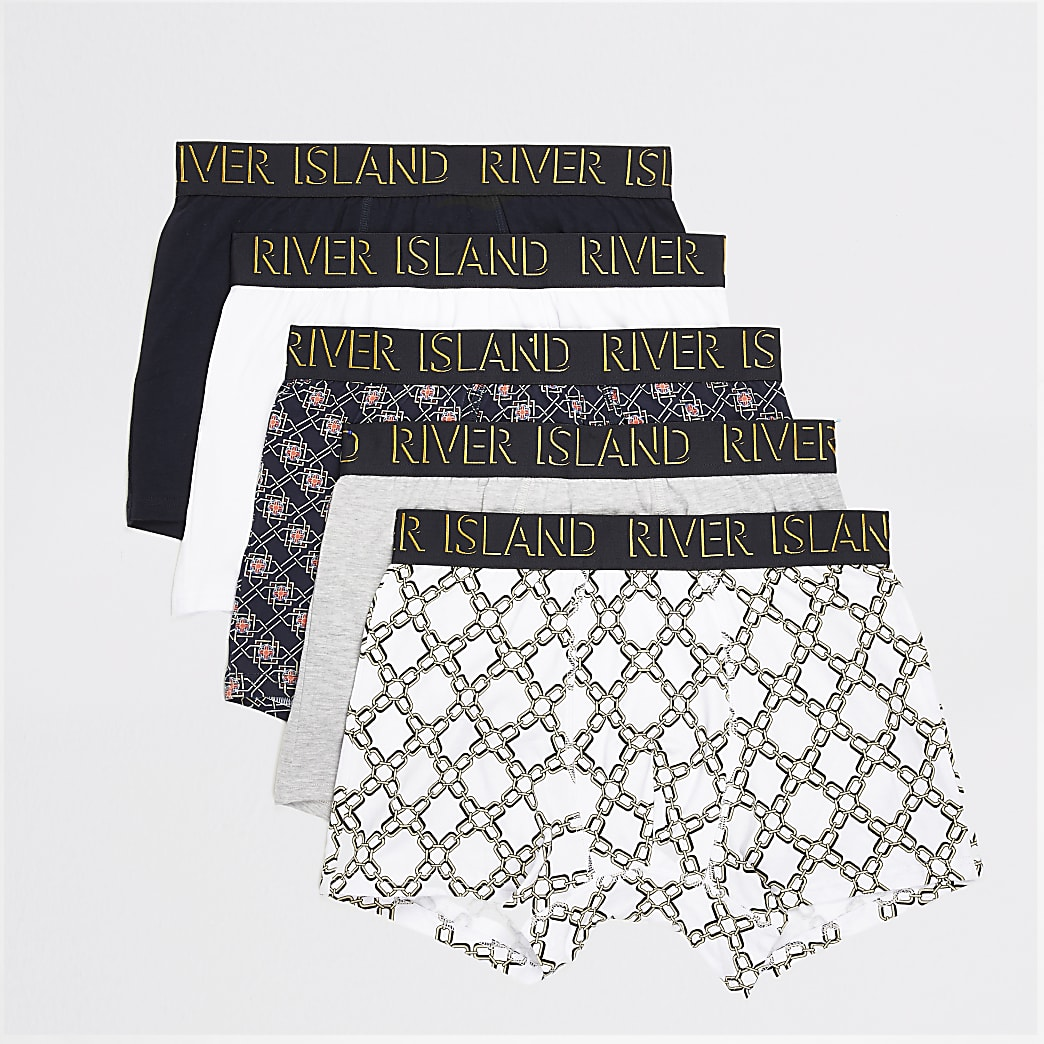 Navy chain and geo print trunks 5 pack