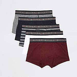 Lot de 5 boxers avec modèle rouge et modèles motif pied-de-poule