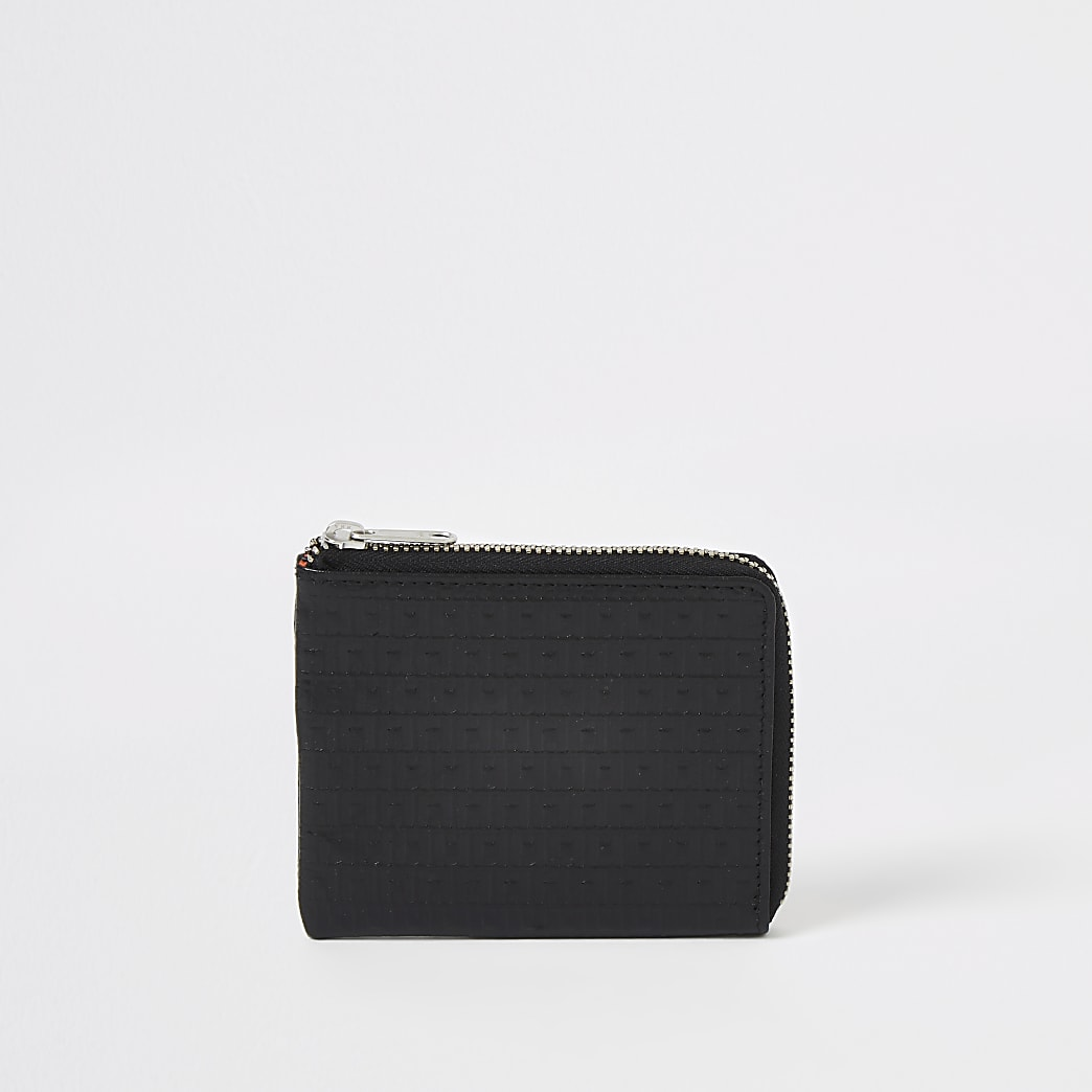 Black leather RI monogram zip pouch