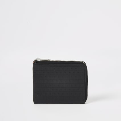 Black leather RI monogram zip pouch