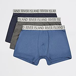Set met 3 blauwe strakke boxers met RI-logo