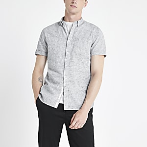 Grey textured slub slim fit shirt