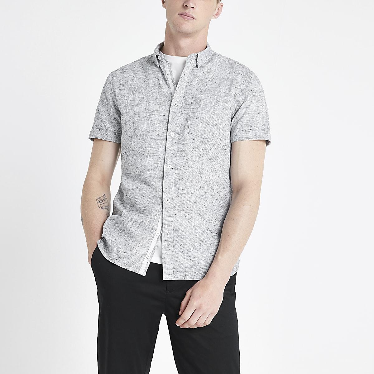 Grey textured slub slim fit shirt
