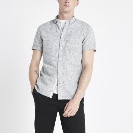 Grey textured slim fit shirt