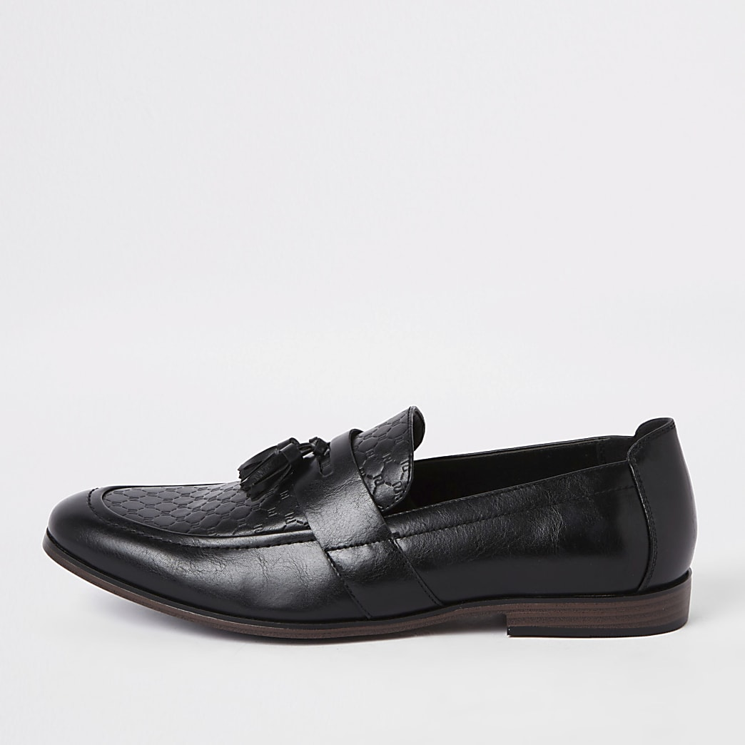 Black wide fit RI monogram tassel loafers