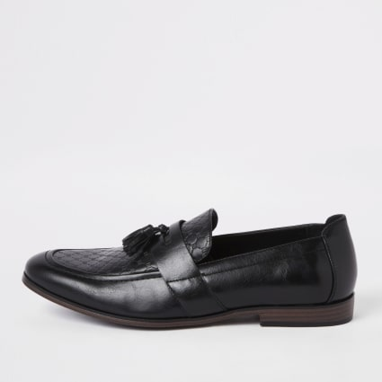 Black wide fit RI monogram tassel loafers