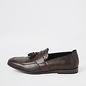 Brown wide fit RI monogram tassel loafers