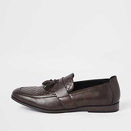 Brown wide fit RI monogram tassel loafers
