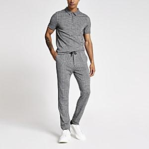 Pantalon de jogging skinny à carreaux gris