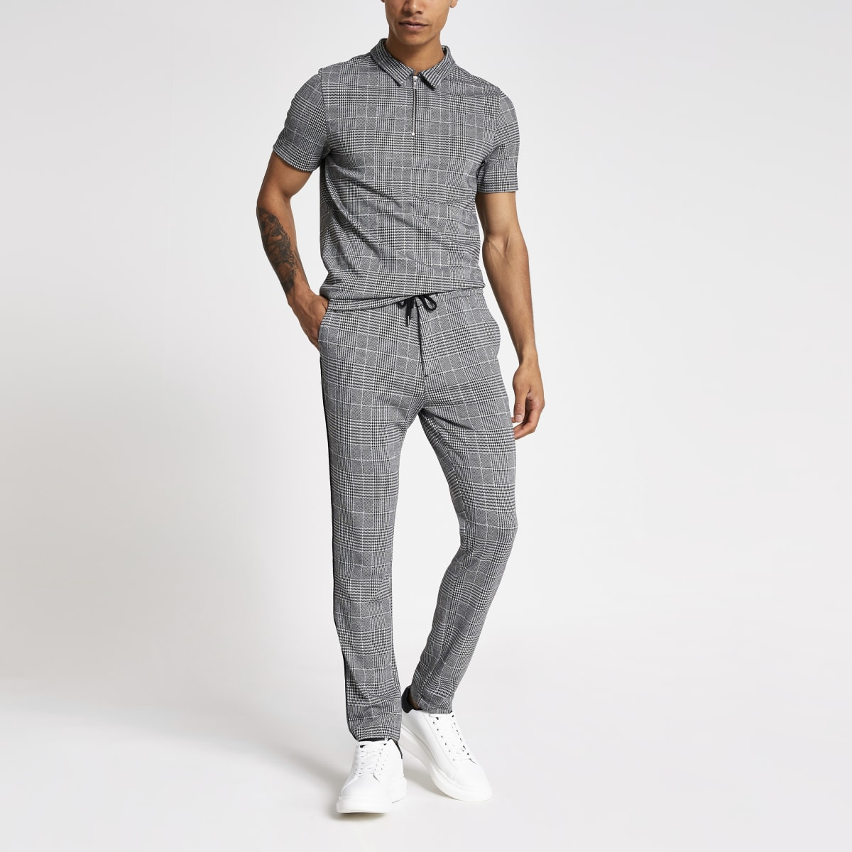 Grey check skinny jogger trousers