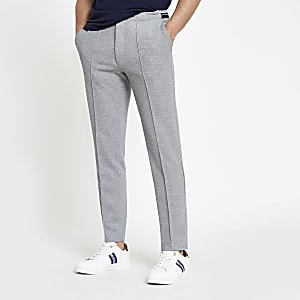 Grey pique skinny jogger pants