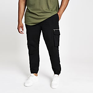Big and Tall black slim fit cargo trousers