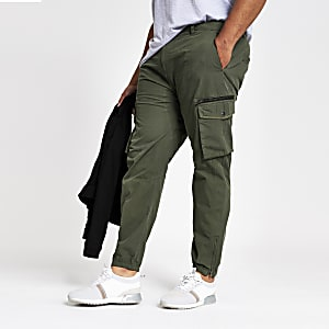 Big and Tall khaki slim fit cargo trousers