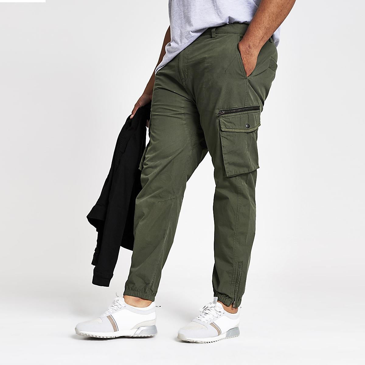 Big and Tall khaki slim fit cargo pants