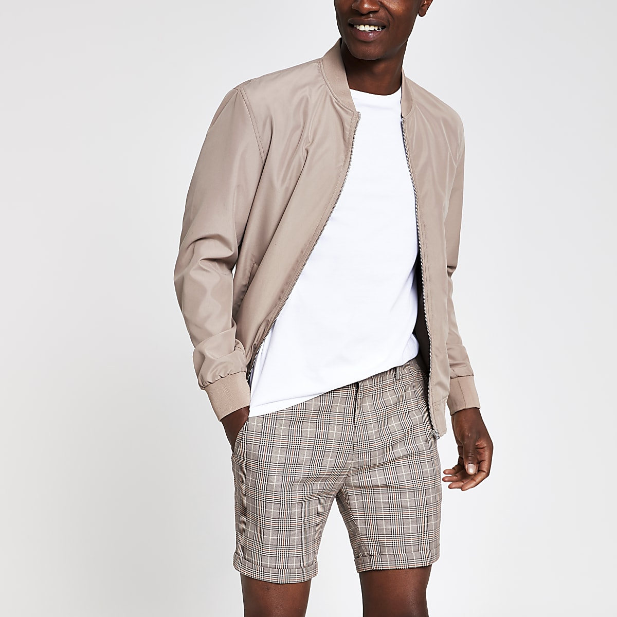 Light brown check skinny shorts