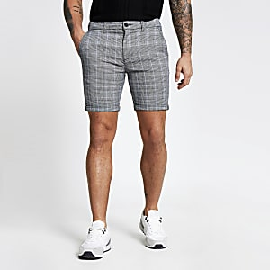 Grey check skinny shorts