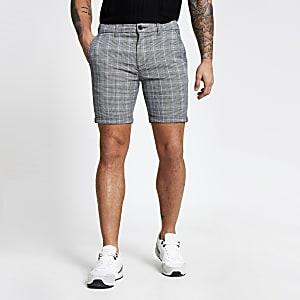 Grey check skinny shorts