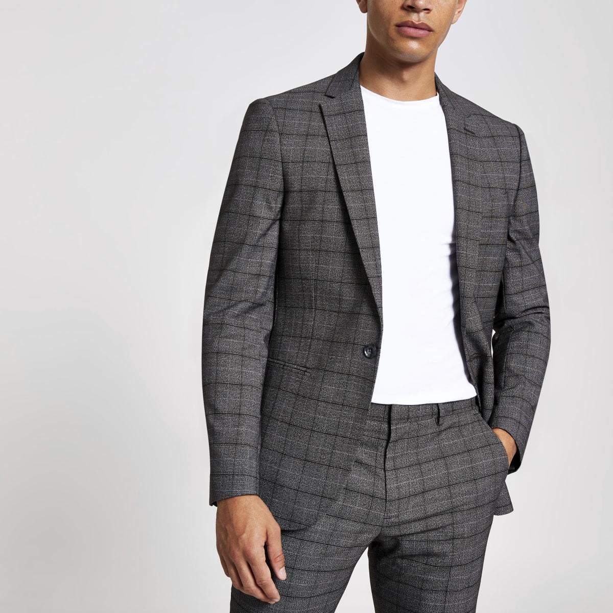 Dark grey check skinny suit jacket