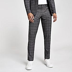 Pantalon de costume skinny à carreaux gris foncé
