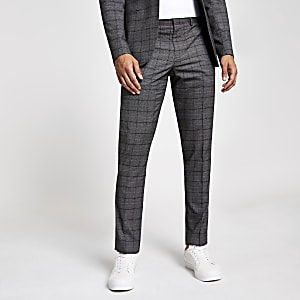 Donkergrijze geruite skinny pantalon