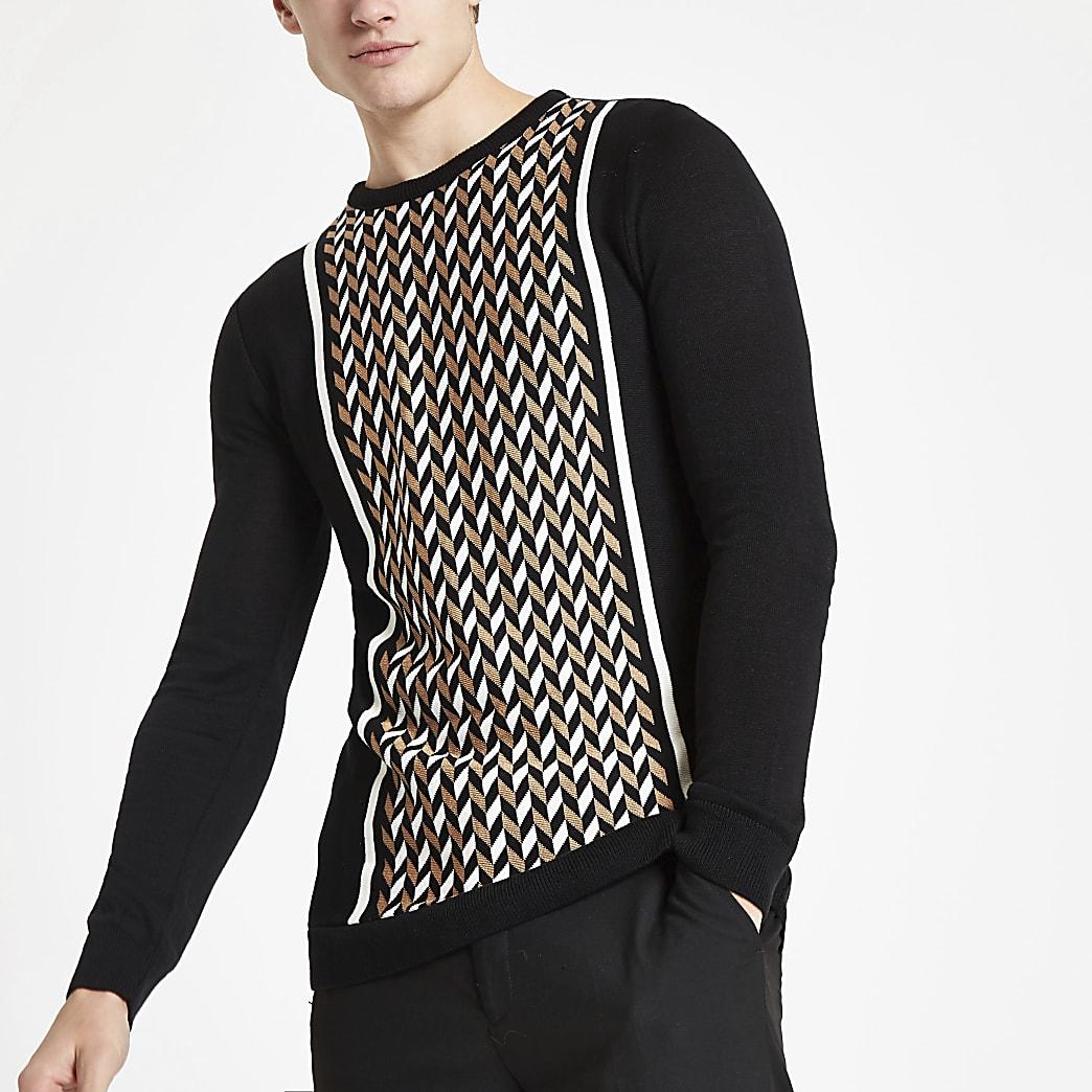 Sweat slim à imprimé géométrique colour block noir