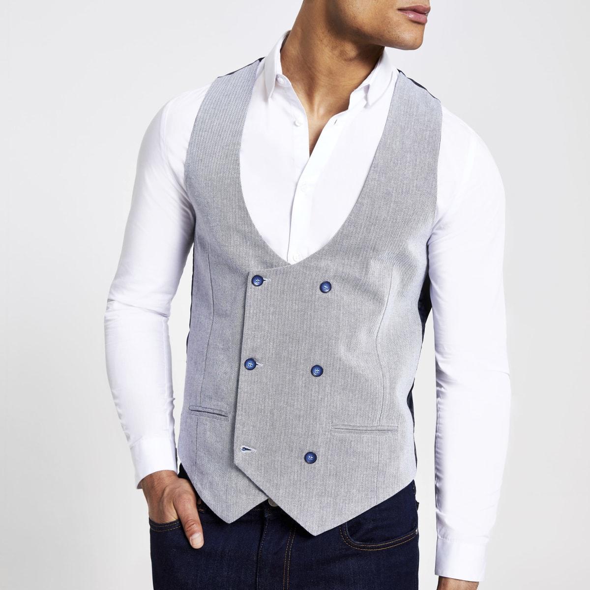 Grey Herringbone waistcoat