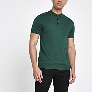 Selected Homme - Groen gebreid poloshirt