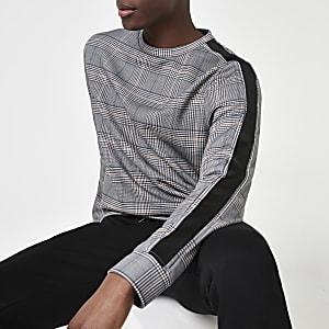 Schwarzes, kariertes Slim Fit Sweatshirt