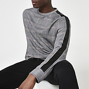 Zwart geruit slim-fit sweatshirt